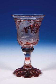 281: Pokal Bohemia Glass Goblet Deer Hunting Vintage : Lot 281