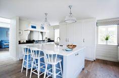 Super pretty white and blue kitchen