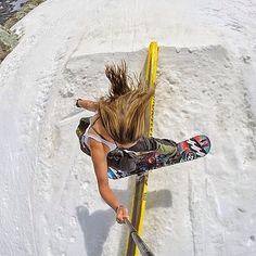 @jennabeaann gettin the shot // #sidewaysslidding #campofchamps @billabong_snowboarding @billabongwomens #billabongwomens #summerboardin #boarderbabes