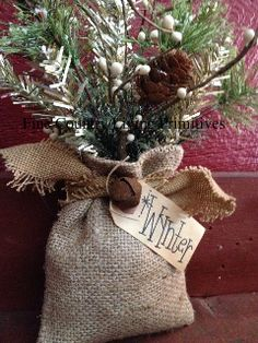 "Vintage Inspired ""Wynter"" Burlap Sack ~ Christmas and Winter Primitives at www.finecountrylivingprimitives.com Rustic Burlap Crafts, Burlap Christmas Crafts, Primitive Crafts, Prim Christmas, Christmas Holidays, Christmas Wreaths, Country Christmas, Christmas Projects, Holiday Crafts"