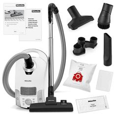 Miele Compact C1 Pure Suction Canister Vacuum Cleaner + SBD285-3 Rug & Floor Tool + Crevice Tool + Upholestry Tool + Dust Brush, White
