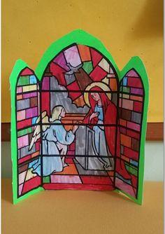 ...Το Νηπιαγωγείο μ' αρέσει πιο πολύ.: Ο Ευαγγελισμός της Παναγίας σε βιτρό