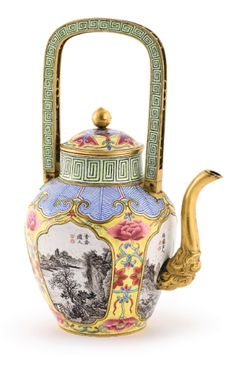 A RARE CANTON ENAMEL FAMILLE-ROSE AND GRISAILLE 'LANDSCAPE' TEAPOT<br>QING DYNASTY, 18TH / 19TH CENTURY, DATED TO THE XINCHOU YEAR | lot | Sotheby's