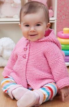 Play Date Cardie  Free knitting pattern.  Sizes:   6,12, 18, and 24 months  US size 6 needles.  RED HEART® Plush Baby™: 2 (2, 3, 3) balls