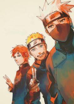 Gaara, Naruto and Kakashi, ma men❤️ I love all three of these handsome Devils