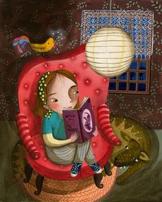 Reading at night Art Print by Valeria Cis   Society6
