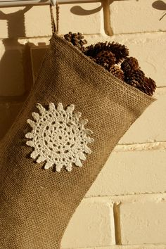 Burlap Christmas stocking with snowflake by Littlewhiteboutique, $37.00