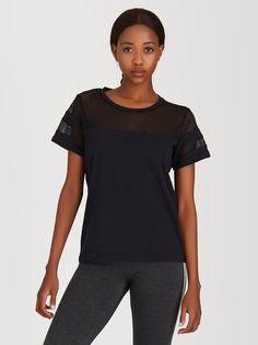 Mesh Inset T-shirt Black