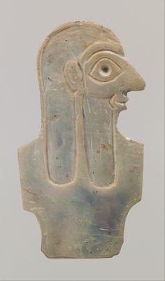 Inlay depicting male torso  Period:Early Dynastic IIIa Date:ca. 2600–2500 B.C. Geography:Mesopotamia Culture:Sumerian Medium:Shell Dimensions:H. 5.1 cm (2 in.)