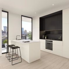// A CLASSIC little number by ;) LOVE those floors sleek joinery :) Team DS. X by designstuff_group Simple Kitchen Design, Kitchen Room Design, Interior Design Kitchen, Kitchen Decor, Decorating Kitchen, Kitchen Ideas, Casa Patio, Australian Interior Design, Minimalist Kitchen