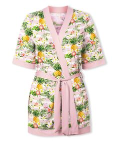 Take a look at this Pink Floral Pineapple Robe - Plus Too today!