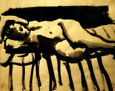 'Reclining Nude' (1960) by American painter David Park (1911-1960). Ink on paper, 13.25 x 16.5 in. via SFMOMA