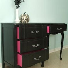 @Abbie Conkling Love the pink pop on sides of drawers. Transforming Old Furniture with Paint {Chests and Consoles}
