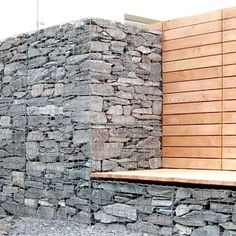 gabion wall with bench