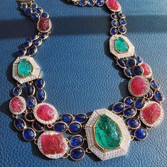 Emerald, Rubies, Sapphires and diamond Statement Necklace. Vintage