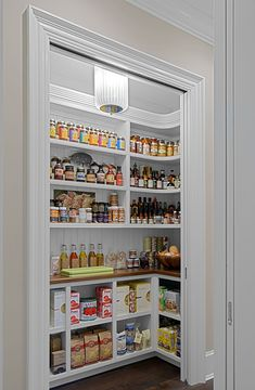Gehen Sie in Speisekammer Walk in spice pantry with space saving pocket door. - Own Kitchen Pantry Kitchen Pantry Design, Kitchen Organization Pantry, Home Decor Kitchen, Interior Design Kitchen, Kitchen Storage, Kitchen Ideas, Pantry Room, Walk In Pantry, Small Pantry Closet