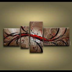 Enchanting Modern Abstract Painting Oil Painting On Canvas Panels Gallery Stretched Abstract. This 4 panels canvas wall art is hand painted by A.Qiang, instock - $155. To see more, visit OilPaintingShops.com
