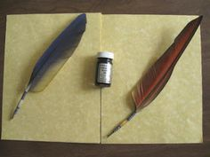 How to make your own Quills, with magical ink recipes. Customize! Personal Quill: Swan feather, Aquamarine cabochon and Silver Wolf charm.