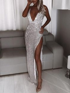 Shop Shiny Spaghetti Strap Plunge Slit Evening Dress – Discover sexy women fashion at Boutiquefeel Belted Dress, The Dress, Bodycon Dress, Maxi Romper, Evening Dresses, Prom Dresses, Formal Dresses, Wedding Dresses, Dress Prom