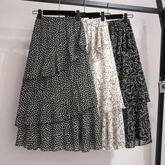 YICIYA floral chiffon skirt girl plus size ruffles women black whiter dot skirts summer midi Multi layered irregular clothing Skirt Fashion, Fashion Outfits, 90s Fashion, Korean Fashion, Boho Fashion, Fashion Online, Floral Chiffon, Chiffon Skirt, Modest Dresses