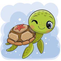 Cute Turtle Drawings, Baby Animal Drawings, Cute Cartoon Drawings, Cute Cartoon Animals, Easy Drawings, Cute Animals, Cute Turtles, Baby Turtles, Cartoon Mignon