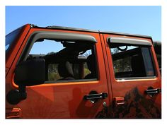 Buy a Set of Four Rugged Ridge Matte Black Window Visors for your Jeep JK Wrangler from CJ Pony Parts today! Keep rain from entering your JK Wrangler while reducing wind noise with these stylish, durable & easy-to-install window visors! 4 Door Jeep Wrangler, Black Jeep Wrangler, 2017 Jeep Wrangler Unlimited, Jeep Jk, Black Windows, Black Doors, Window Vents, Rugged Ridge, Jeep Wrangler Accessories