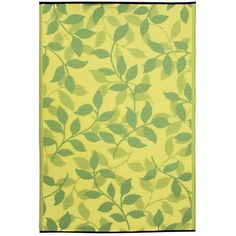 Fab Habitat 753182462530 4-Feet by 6-Feet Bali Outdoor Rug, Lemon Yellow and Moss Green $48.00