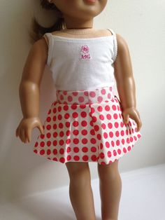 Polka Dot Swishy Skirt For American Girl by TheCuteDollBoutique