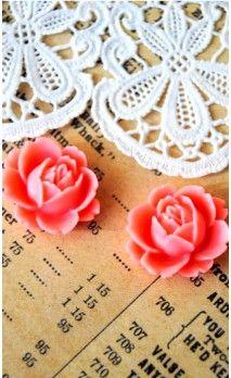 Lot de 2 Fleurs 16 mm couleur rose pour bijoux et scrapbooking
