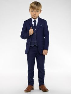 Shop for boys blue & navy slim fit suit Kingsman at Roco. Perfect as a blue page boy outfits with free UK delivery & 30 day returns.