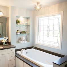 bathroom makeover with large custom window over bathtub Source by The post This Dated Bathroom Gets A Much Needed Upgrade appeared first on Harold DIY Design. Marble Bathroom, Master Bathroom Decor, Bathroom Windows, Bathroom Makeover, Bathtub Remodel, Dream Bathtub, Bathroom Interior, Bathrooms Remodel, Bathtub