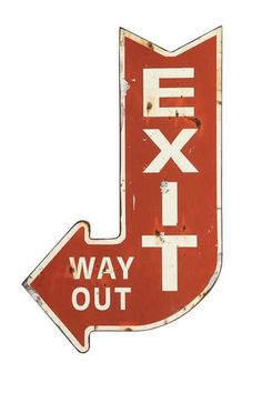 Metal Arrow Shape Exit Way Out Sign Distressed Red White Country Home Store Decor