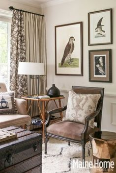 Sitting Room With Vintage Elements Bamboo Table Custom Framed Audubon Prints Contemporary