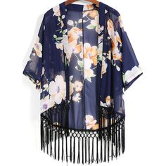 SheIn(sheinside) Blue Floral Loose Tassel Kimono (20 AUD) ❤ liked on Polyvore featuring kimono, outerwear, tops, cardigans, jackets and blue