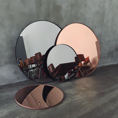 Scandinavian Colour + Design LOTS of emails about the Circum Mirror, so we thought we better share some more information: They come in ROSE GOLD/COPPER or GREY SMOKE. The smaller is 70cm in diameter, the larger is 110cm. We don't have an exact RRP at this stage, but we think the small will be in the $280 ballpark. Yes we are taking pre-orders and enquires. Please email admin@designstuff.com.
