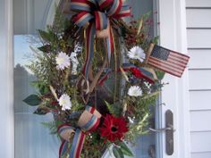 Primitive ~Americana~ Flag~ Daisies ~Door~ Wreath~Pip Berries~Double Bows