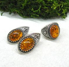 Vintage Ring Earrings Set Natural Baltic Amber USSR jewelry from the 70s Honey Amber in dark silver Mother's gift Thanksgiving Get Well