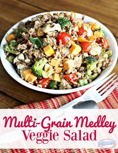 Multi-Grain Medley Veggie Salad from This Mama Loves. This multigrain medley veggie salad is gluten free and vegetarian-the whole family can enjoy together! The perfect side dish-add protein for a main dish. Veggie Recipes Healthy, Healthy Salads, Vegetarian Recipes, Healthy Food, Healthy Eating, Yummy Food, Pasta Recipes, Chicken Recipes, Dinner Recipes