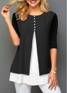 Womens Casual Tops Color Block Faux Two Piece Chiffon Panel T Shirt Stylish Tops For Girls, Trendy Tops For Women, Cheap Womens Tops, Chiffon, Look Fashion, Fashion Outfits, Womens Fashion, Steampunk Fashion, Gothic Fashion
