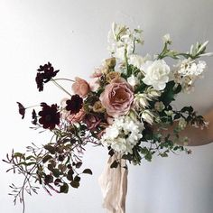 Wedding Flower Arrangements Totally in love with this bouquet with Floral Wedding, Wedding Colors, Boho Wedding, Destination Wedding, Dream Wedding, Bridal Flowers, Purple Flowers, Pink Roses, White Flowers