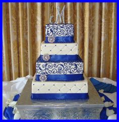 Royal blue squares with bling