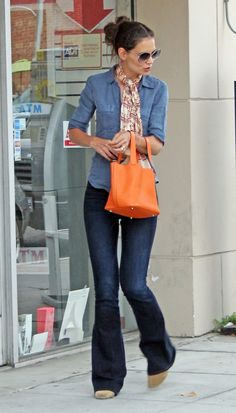 Katie Holmes - love the outfit. esp the orange bag