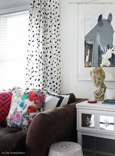 Curtains stenciled with Cheetah Print wall stencil. A new animal print pattern from Royal Design Studio. Via Hunted Interior Blog.