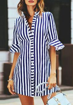 Ericdress Stripe Notch-V Single-Breasted Short Sleeve Womens Top, Modest Dresses, Modest Outfits, Casual Dresses, Short Dresses, Casual Outfits, Fashion Dresses, Casual Clothes, Dress Shirts For Women, Clothes For Women