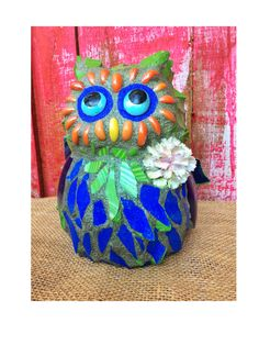 RESERVED for CAROLYN Mosaic Owl, garden decoration,mosaic garden art, garden statue,front porch decor, owl art,Frasier by Whimsicalrobyn on Etsy https://www.etsy.com/listing/498734047/reserved-for-carolyn-mosaic-owl-garden