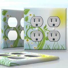 DIY Do It Yourself Home Decor - Easy to apply wall plate wraps | Good Morning Sun!  Light blue sky with daisies  wallplate skin sticker for 2 Gang Wall Socket Duplex Receptacle | On SALE now only $4.95