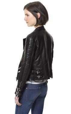 BIKER LEATHER JACKET WITH BUCKLES - Blazers - Woman | ZARA United States Biker Jackets, Leather Jackets, Zara United States, Blazers For Women, What To Wear, Biker Leather, Shoe Bag, Finland, Essentials