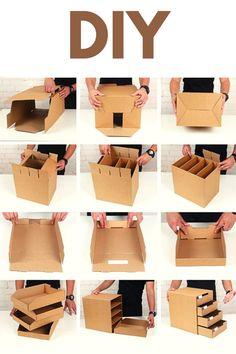 WOW !! DIY Room Organizer    Mini Cabinet Making at Home    DIY Projects !!! Diy Crafts Hacks, Diy Home Crafts, Diy Projects, Diy Cardboard Furniture, Cardboard Box Crafts, Diy Jewelry Organizer Box, Home Organizer, File Organiser, Cardboard Organizer