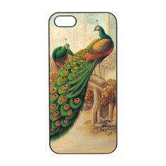 iphone 5 case--peacock, in black plastic hard case