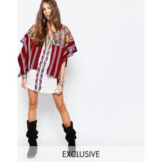 Hiptipico Handmade Cape with Floral Embroidery and Stripes ($160) ❤ liked on Polyvore featuring outerwear, multi, cape coat, white cape and white cape coat